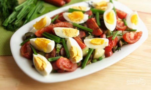"""Результат пошуку зображень за запитом """"Салат «Сытный»: Картофельный салат с яйцом и помидорами"""""""